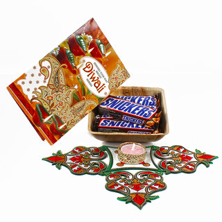 Snickers Chocolate Basket with Artificial Rangoli