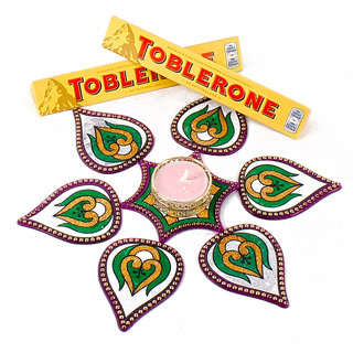 Toblorone Chocolate with Modak Shape Artificial Rangoli