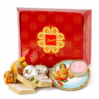 Colourful Ganesha Diya with Assorted Sweets