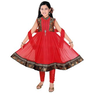 Sarrah Girls Red & Black Collared Churidar Set (Size 26)