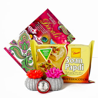 Diwali Hamper with Wax Candles and Soan Papdi