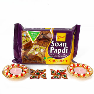 Diwali Combo Hamper with Metal Diya and Soan Papdi