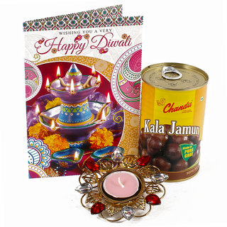 Delicious Kala Jamuns Sweet with Diwali Card and Tealight Diya