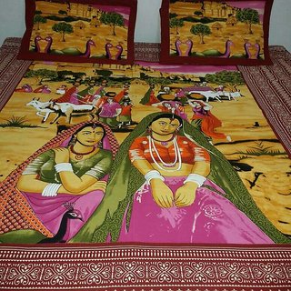 V Brown Cotton Rajasthani Printed Exclusive Double Bedsheet