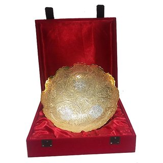 Fashion Prani Gold  Silver Bowl Large With Stand