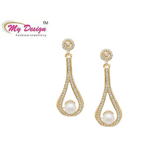 Designer Pearl Stone Rose Gold Plated Hanging Earrings By My Design