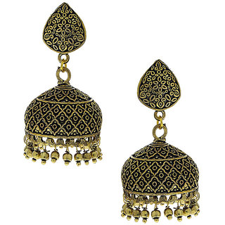 Anuradha Art Beautiful Classy Golden Oxidised Finish Jhumki Earrings For Women/Girls