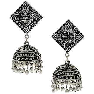 Anuradha Art Silver Tone Wonderful Classy Designer Jhumki Styled Earrings For Women/Girls