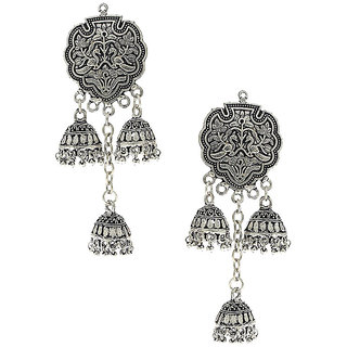 Anuradha art Exclusively Classy Designer Styled With Silver Touch Jhumki Styled Earrings For Women/Girls