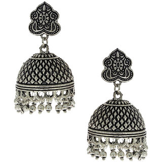 Anuradha Art Presenting Silver Oxide Finish Classy Jhumki Earrings For Women/Girls