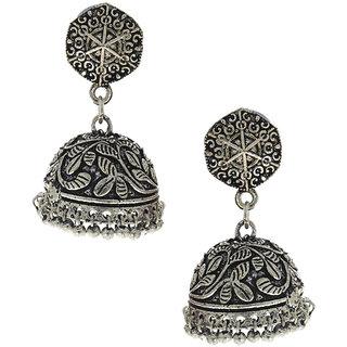 Anuradha Art Silver Oxidised Classy Designer Stylish Jhumki Earrings For Women/Girls
