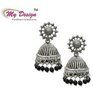 Silver Plated Black Pearl Jhumki Earrings By My Design