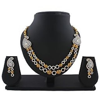 Anuradha Art Silver-Gold Finish Double Layer Classy American Diamond Necklace Set For Women/Girls