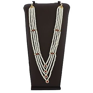 Anuradha Art Golden Tone Styled With Maroon-White Colour Stone Traditional Long Necklace For Women/Girls