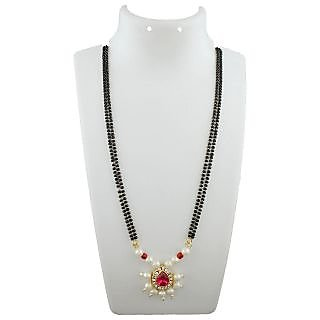 Anuradha Art Golden Finish Wonderful Styled With White-Pink Colour Stone Managalsutra Set For Women