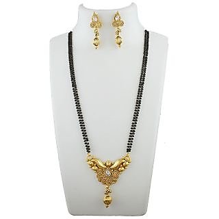 Anuradha Art Exclusively Golden Finish Styled With Sparkling Stone Managalsutra Set For Women