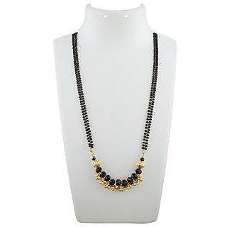 Anuradha Art Golden Colour Styled Black Colour Beads Crystal Beads Managalsutra Set For Women