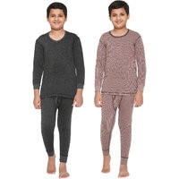 Vimal Premium Blended Multicolor Thermal Top&Bottom Set For Boys(Pack Of 2)