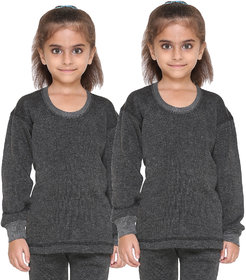 Vimal Premium Blended Black Thermal Top For Girls(Pack Of 2)