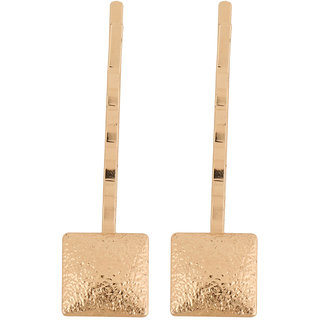 Jazz Jewellery Set Of 2 Gold Toned Square Shaped Mat Finished Hair Pins For Women and Girls