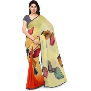 Sareemall Yellow Printed Georgette Saree With Unstitched Blouse