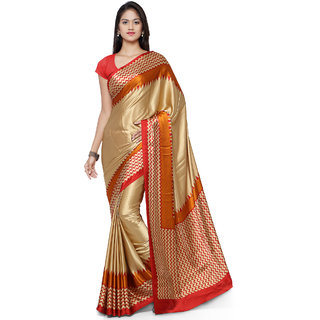 Sareemall Beige Crepe Printed Saree With Blouse
