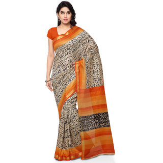 Sareemall Beige & Orange Printed Pashmina Silk Saree With Unstitched Blouse