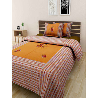 Jaipuri Traditional Pure Cotton Embroidered Patch work double bedsheet