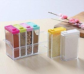 Urban Living Crystal Seasoning Box Pepper Salt Spice Rack Plastic 6 Box