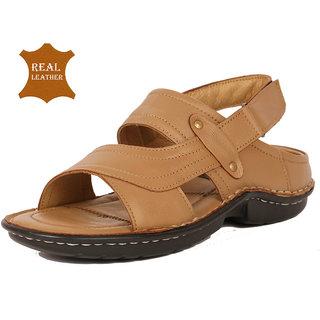 88c4cfba1680 Buy Ribit Men s Genuine Leather S- Class Tan Velcro Sandal Online ...