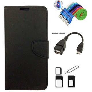 Wallet Style Flip Cover Case for Micromax Canvas Juice A77 (BLACK)  + Nano Sim Adapter + Micro USB OTG Cable + Micro USB Charging Cable Combo Set