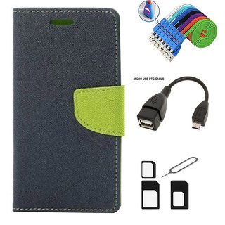 Wallet Style Flip Cover Case for Samsung Galaxy Young 2 SM-G130 (BLUE)  + Nano Sim Adapter + Micro USB OTG Cable + Micro USB Charging Cable Combo Set