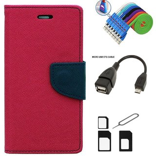 Wallet Style Flip Cover Case for  Micromax Canvas Juice 3 Q392 (PINK)  + Nano Sim Adapter + Micro USB OTG Cable + Micro USB Charging Cable Combo Set