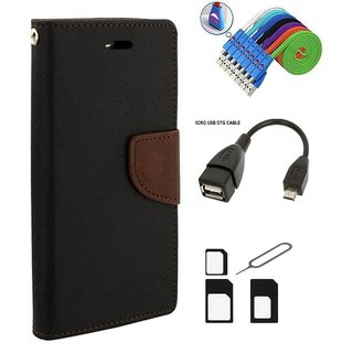 Wallet Style Flip Cover Case for  Micromax Canvas Sliver 5 Q450 (BROWN)  + Nano Sim Adapter + Micro USB OTG Cable + Micro USB Charging Cable Combo Set