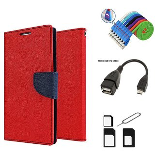 Mercury Diary Wallet Style Flip Cover Case for Samsung Galaxy S4 mini I9190 (RED)  + Nano Sim Adapter + Micro USB OTG Cable + Micro USB Charging Cable Combo Set