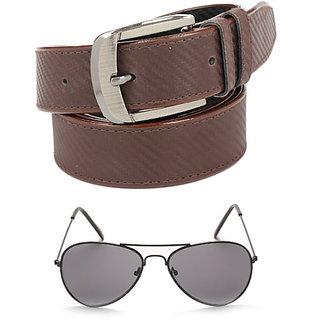 Calibro Men\'S Brown Fux Leather Belt With Aviator Sunglasses Combo CMFLB-1131
