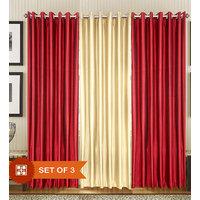 Handloomdaddy Pack Of 3 Beautiful Plain Eyelet Door Curtain(2dark Cream&1maroon)