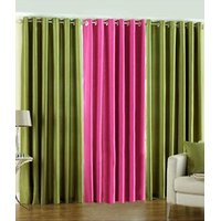 Handloomdaddy Pack Of 3 Beautiful Plain Eyelet Door Curtain (dark Pink&2green)