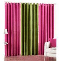 Handloomdaddy Pack Of 3 Beautiful Plain Eyelet Door Curtain (2dark Pink&green)
