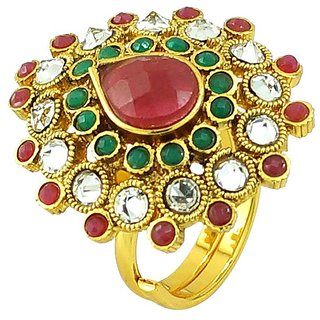 Ruby Emearld Simulated Cz Stone Gold Plated Rings RG-0226