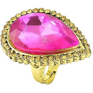 Pink Color Simulated Stone Gold Plated Rings By R S Jewels RG-0230