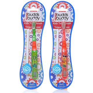 Buddsbuddy Combo of Kids toothbrush + Tongue Cleaner