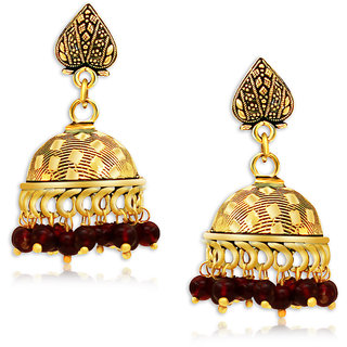 Spargz Beautiful Oxidized Gold Plating Red Beads Jhumka Earring For Women AIER 651