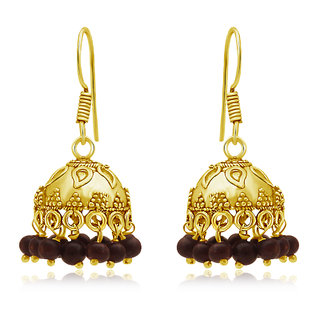 Spargz Beautiful Oxidized Gold Plating Cherry Color Beads Jhumka Earring For Women AIER 654
