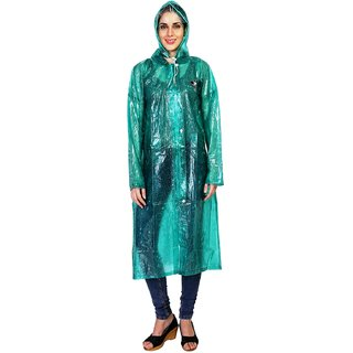 Zeel Green Translucent Raincoat For Women