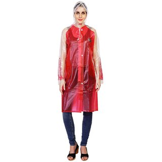 Zeel Red Translucent Raincoat For Women