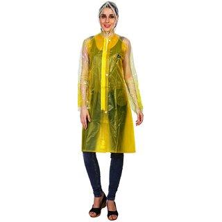 Zeel Yellow Translucent Raincoat For Women