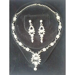 Prince Silver Necklace Earings Set PSNS018