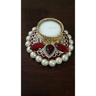 Elegant Pearl Studded Golden Handcrafted Designer Diya Candle Holder