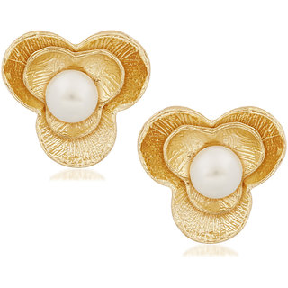 VK Jewels Pearl Gold Plated Alloy Stud Earring set for Women & Girls -ERZ1258G [VKERZ1258G]